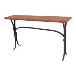 """Mathews & Company - Salisbury Console Table with 60"""" x 14"""" Top - The classic lines in the console table from the Salisbury Collection make it a perfect fit for an entryway or along the wall in a living or dining area. The Salisbury Console table is available in four table tops and four iron finishes so you can make this piece one of a kind to fit the style of your home. Each console table is handmade by the artists from Matthews and Company, so you are assured of both the quality and value of this piece. Pictured in Copper top and Black finish."""