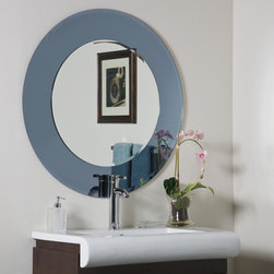 Decor Wonderland Mirrors - Decor Wonderland Camilla Round Modern Bathroom Mirror - The Camilla modern round wall mirror is a masterpiece in modern design and function. This large modern wall mirror features a 1 inch outside bevel, 1/2 inch inside bevel, unique border is 5.5 inches and inside mirror is 23.5 inches. Add a splash of contemporary style to your home with the Camilla Wall Mirror.