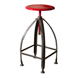 Industrial Metal Adjustable Stool - Barn Light Electric - One of the newest offerings in our growing line of Industrial Décor, this Metal Stool features a sturdy base with legs that form a square and a comfortable seat that adjusts up and down. Customize your stool with raw or white legs and a raw, white, or red seat!