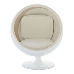 """LexMod - Kaddur Lounge Chair in White - Kaddur Lounge Chair in White - This retro lounge chair resembles a space-age pod creating a spark of interest in anyone who sees it. The fabric lined inner shell offers a sense of privacy and retreat as you relax into the plush cushions. Its exterior is a wonder; a molded fiberglass shell and matching fiberglass base with an integrated swivel mechanism. Set Includes: One - Kaddur Lounge Chair Fiberglass Shell, Poly / Cotton Interior, Swivel Base, Scratch and Chip Resistant Finish Overall Product Dimensions: 29""""L x 42""""W x 48""""H Seat Height: 18""""H - Mid Century Modern Furniture."""