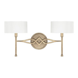 Landry 2-light Wall Sconce in Brushed Gold with White Fabric Shades -