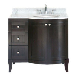 Empire Industries - Empire Industries Malibu 100 Single Bathroom Vanity - 36W inches - EPR202 - Shop for Bathroom from Hayneedle.com! Merging the unique style and handy features of the Malibu collection with added storage capacity the Malibu 100 combines a standard Malibu 100 24-Inch Vanity with a matching Malibu 100 Right-Drawer Base. In addition to the large under-counter storage area found behind the vanity's two curved-panel swing-open doors three right-side stacked flat-front drawers provide maximum space in a compact design. Each drawer features dovetail joints and full-extension drawer slides for easy access to items at the back of the drawer. Crafted from smooth brushed nickel five round door and drawer pulls beautifully accent the solid alder hardwood construction with modern finesse. Choose from a bright white or sleek dark mahogany lacquer for a beautiful finishing touch. Complete with an all-over bead-board pattern and four thick sturdy outward-curved legs the vanity's two rear legs are specially shaped to allow flush installation against wall molding. The Malibu 100 36-Inch Vanity - Bowl on Left measures 36W x 21.6D x 33H inches.Expressly designed to complete the Malibu 100 36-Inch Vanity - Bowl on Left with impeccable long-lasting Italian finesse the Carrera White Marble Top is crafted from 0.75-inch-thick solid Carrera white marble. Choose from a biscuit or white bowl sink. Four male screws and hanging clips are included for easy hassle-free installation and four female screws are embedded on the underside of the countertop. All tops are three-hole-drilled for an 8-inch faucet spread (sold separately) and include a matching loose 4-inch backsplash. The Carrera White Marble Top measures 37W x 22.25D x 0.75H inches. Note: Carrera White Marble vanity tops will not fit custom size vanities modified with additional side or center drawer bases.About Empire IndustriesEmpire Industries has been manufacturing high-quality bathroom and kitchen products since 19