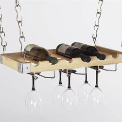 Concept Housewares - 6-Bottle Hanging Wine Rack (Charcoal Gray) - Finish: Charcoal Gray. Includes four ceiling hooks, thirty two hanging links, two wall supports, three chrome wire glass holder, all mounting hardware and hanging instructions. Holds six bottles and nine glasses. Can be used as wall mounted rack. Combination of wood and chrome to create modern look. 23 in. L x 3 in. W x 12 in. H (8 lbs.)Concept Housewares offers our popular sturdy metal wine racks that mount on the wall or sit on the floor. Concept products are constantly being recognized for quality, style and innovative designs created with a variety of materials that accessorize the kitchen at an exceptional value for the money. For over ten years Concept Housewares has been a leader in Kitchen Storage and Asian Cookware. Our products are designed with the consumer in mind and made with the best quality materials and craftsmanship available.