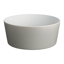 Alessi Dinnerware - Alessi Dinnerware Tonale Serving Bowl - Light Grey - Serving bowl in stoneware.  A seemingly random collection of objects, the table service comprises a number of items including a tray, a board, a carafe, plates, bowls, beakers, and cups.  The project was inspired by vernacular ceramics from Korea, Japan, and China, and conceived as an exercise in refining functional household objects.  The name 'Tonale' refers to Giorgio Morandi's use of color tonality imbuing his daily objects with a sense of individuality. The objects are produced in a variety of materials including enamelled steel, glass, earthenware, and wood. While striving for expressive purity, the range honors today's requirements for durability and versatility.  Manufactured by Alessi. Designed in 2009.
