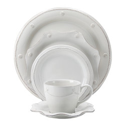 Berry and Thread 5 Piece Set - Whitewash - The Juliska brand is known for their elegant simplicity in table wear and the Berry and Thread 5 piece place setting exemplifies that perfectly. Each piece meticulously detailed to complement each other fantastically. Includes charger, dinner plate, dessert plate, mug and saucer.