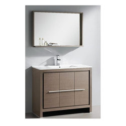 "Fresca - Allier Single Sink Modern Bathroom Vanity w M - Choose Included Faucet: Orba ChromeP-trap, Faucet, Pop-Up Drain and Installation Hardware Included. Single Hole Faucet Mount (Faucet Shown In Picture May No Longer Be Available So Please Check Compatible Faucet List). With overflow. Sink Color: White. Finish: Gray Oak. Sink Dimensions: 19.25 in. x11.25 in. x5.25 in. . Mirror: 39.38 in. W x 25.5 in. H x 6 in. D. Materials: Plywood w/ Veneer, Ceramic Countertop/Sink with Overflow. Vanity: 39.38 in. W x 18 in. D x 33.5 in. HThe Fresca 40"" Allier is a sleek, modern free standing vanity with plenty of storage space. This model is accented nicely with a matching mirror with small shelf. Optional side cabinets are available."