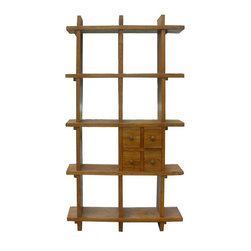 Golden Lotus - Tall Thick Wood Multiple Shelves Display Cabinet - Look at this display cabinet which is made of solid thick elm wood.  It provides multiple shelves.  You can use it to decorate your living room and display all of your small items, such as statues, and vases.