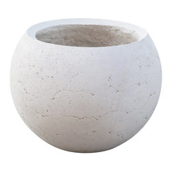 Planters Unlimited - Halley Round Lightweight Concrete Planter - The Halley Round Lightweight Concrete Planter is manufactured from GFRC, a lightweight alternative to traditional concrete. Artificial plants and trees sold separately. Commercial planters are industrial grade.