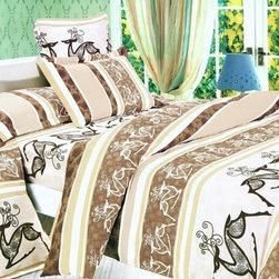 Blancho Bedding - Blancho Bedding - [Beige Deer Totem] 100% Cotton 7PC Bed In A Bag (King Size) - King size contains two pillow shams, a fitted sheet, a duvet cover, a comforter and two pillow.