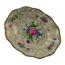 Midwinter Staffordshire on base - Consigned Olives Small Serving Bowl Vintage English Midwinter - Vintage small olives or starter serving ceramic bowl, with rose decoration and gilded in Midwinter pattern, English.