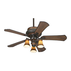 "Minka Aire - Traditional 52"" Minka Aire Dark Craftsman Finish Ceiling Fan - This classic design is enhanced by a dark wood finish called Craftsman and handsome black edging. The 52"" blade span and 14 degree pitch will circulate the air thoroughly. This versatile model is UL listed for wet locations. Suitable for both indoor and outdoor use. Includes an optional three light kit. Wall control included.(3 60W candelabra bulbs not included) 14 degree blade pitch. Lifetime motor warranty. 172 x 20 motor size. (UM)  Dark Craftsman motor finish with matching finish ABS blades.  Lifetime motor warranty.  Includes an optional three light kit.  Includes three 60 watt candelabra bulbs.  172 x 20 motor size.  UL listed for wet locations.  14 degree pitch.  52"" blade span.  Fan height 13-1/4"" ceiling to light kit( with 3-1/2"" downrod).  Fan height 21-1/2"" Ceiling to light kit (with 3-1/2"" downrod).  Includes 3-1/2"" and 6"" downrods."