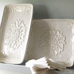 """Juliette Oversized Ceramic Rectangular Serving Platter - Embossed floral motifs and scrollwork elevate the simple, generous designs of our Juliette platters. X-Large Round: 18"""" diameter, 2"""" high X-Large Rectangular: 13.5"""" wide x 8.5"""" deep x 2"""" high X-Large Oval: 21"""" wide x 16"""" deep x 2"""" high Made of stoneware with embossed patterns and an ivory reactive-glaze finish."""
