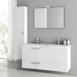 ACF - 47 Inch Glossy White Bathroom Vanity Set - Set Includes: Vanity Cabinet (2 Doors,2 Drawers), high-end fitted ceramic sink, wall mounted vanity mirror, tall storage cabinet. Vanity Set Features: Vanity cabinet made of engineered wood. Cabinet features waterproof panels. Vanity cabinet in glossy whi