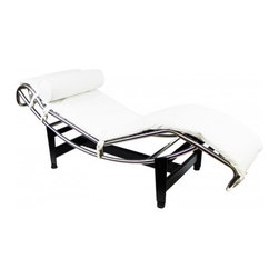 "Serenity Living Stores - Le Corbusier LC4 Style Lounge Chair - Italian Leather, White - The most coveted and successful design from Le Corbusier's original designs of the 1920s would undoubtedly have to be the Le Corbusier LC4 Lounge Chair. This chair was first showcased in 1929 at the Salon D'Automne in Paris, France. The Le Corbusie LC4 Lounge Chair, created in 1928, was the result of a collaborative vision in 1928 and the influential designers behind Le Corbusier's vision included Pierre Jeanneret and Charlotte Periand. This chair was originally commissioned for the interior design of a villa located in the Vilee d'Avray- located in the western suburbs of Paris, France. Otherwise known as the ""relaxing machine,"" the LC4 Lounge Chair is a lounge that contours to the body's natural curves and at the same time it appears to float about its supports. The frame of this chair is very giving as its positions located on the base use gravity and the users natural weight to create a variety of reclining positions. Overall Dimensions: 23.6"" H x 63""L x 22.8"" D"