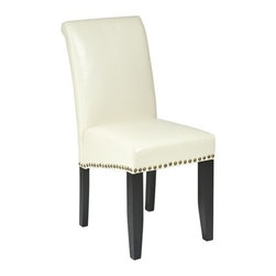 Office Star - Office Star Cream Eco Leather Parsons Chair - OSP Designs Parsons Chair Cream Eco Leather