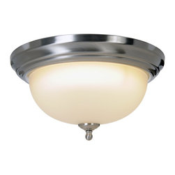 Premier - One Light 13.25 inch Flush Mount - Brushed Nickel - The Sonoma lighting collection will instantly brighten the decor of any room in your home. Sonoma chandeliers, pendants, ceiling fixtures, and vanity fixtures feature everything you'll need to create a complete home lighting ensemble with a look of refined elegance and majestic charm. With a brushed nickel finish, frosted glass globe, and striking design, this Sonoma ceiling fixture provides unique character and regal allure. Besides its decorative appeal, this fixture is also energy-efficient. It uses a compact fluorescent lamp (included).