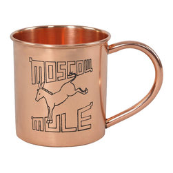 Custom Copper Mugs, LLC - Moscow Mule Mug with Retro Logo - Our Moscow Mule Mugs are constructed of 100% pure copper. We apply a food-safe lacquer that resists tarnishing for lasting beauty and luster. The mug of choice when serving the infamous Moscow Mule--a cocktail made from a blend of vodka, ginger beer, and lime juice. The copper mug enhances the flavor and keeps the drink colder, longer.