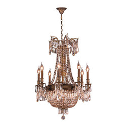Worldwide Lighting - Winchester 12 Light Antique Bronze and Golden Teak Crystal Chandelier - This stunning 12-light Traditional Chandelier only uses the best quality material and workmanship ensuring a beautiful heirloom quality piece. Featuring a solid cast aluminum base in beautiful Antique Bronze finish and all over Golden Teak (translucent Champagne color) crystal embellishments made of finely cut premium grade 30% full lead crystal, this chandelier will give any room sparkle and glamour. Worldwide Lighting Corporation is a privately owned manufacturer of high quality crystal chandeliers, pendants, surface mounts, sconces and custom decorative lighting products for the residential, hospitality and commercial building markets. Our high quality crystals meet all standards of perfection, possessing lead oxide of 30% that is above industry standards and can be seen in prestigious homes, hotels, restaurants, casinos, and churches across the country. Our mission is to enhance your lighting needs with exceptional quality fixtures at a reasonable price.