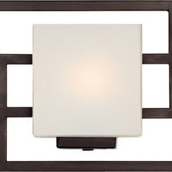 "Possini Euro Design - Lighting on the Square Bronze 21"" Wide Bath Wall Light - This three-light bathroom wall light features sleek lines for a contemporary appeal. The rectangular shades of opal glass are positioned to complement the geometric form of this design. A great modern update your for stylish bath. This is an ADA compliant bath light. Metal construction. Bronze finish. Opal glass shades. ADA compliant. Takes three 40 watt bulbs (not included). 8"" high. 21"" wide. Extends 4"" from the wall. Backplate is 4 1/2"" high and wide.  Bronze finish.   Metal construction.   Opal glass shades.   ADA compliant.   Takes three 40 watt bulbs (not included).  8"" high.   21"" wide.   Extends 4"" from the wall.   Backplate is 4 1/2"" high and wide."