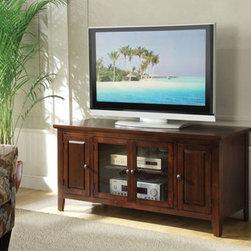 Acme Furniture - Christella Glass Door TV Stand in Dark Chocolate Finish - 10346 - Christella Collection TV Stand