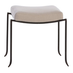 Arteriors - Mosquito Bench, Small - Reminiscent of the graceful silhouette of a mosquito's leg, this ottoman and bench work well in any number of locations and with many different styles. Natural iron legs with natural linen seat.