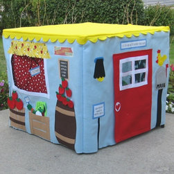 Farm Stand Card Table Playhouse by Miss Pretty Pretty - Designed to fit over a standard card table, this fabric playhouse can be folded up and stored away after a hard day of selling vegetables to the locals.