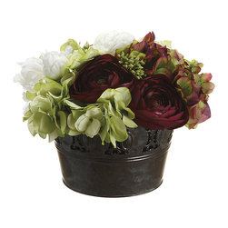 Allstate Floral & Craft - Hydrangea Ranun Peony & Pot Décor Set - Lending year-round color and lively style to your home, this artificial arrangement requires no maintenance or watering.   Includes artificial flower and holder 8.5'' H Polyester / plastic / wire / tin / foam Imported