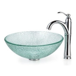 Kraus - Kraus Mosaic Glass Vessel Sink and Riviera Faucet Satin Nickel - *Add a touch of elegance to your bathroom with a glass sink combo from Kraus