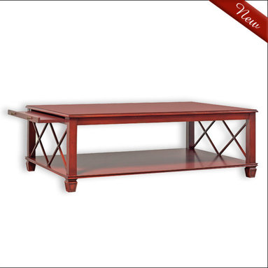Liz Ann's Interior Design Boutique - The Adele cocktail table is beautifully handcrafted with attention to every detail and it's available in a variety of gorgeous hand applied finishes.  It has a working pencil drawer and lower shelf.  Shown in Distressed Pimento.  Outside Dimensions: 54Wx19Hx36D.