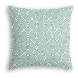 Aqua Classic Trellis Custom Throw Pillow - The every-style accent pillow: this Simple Throw Pillow works in any space.  Perfectly cut to be extra fluffy, you'll not only love admiring it from afar but snuggling up to it too! We love it in this small classic cream trellis on flooded aqua cotton sateen.