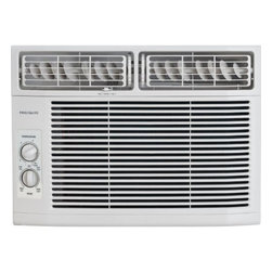 Frigidaire A/C - 12,000 BTU Window Air Conditioner, Mechanical Controls - Frigidaire's FRA122CV1 12,000 BTU 115V Window-Mounted Compact Air Conditioner is perfect for rooms up to 640 square feet. It quickly cools a room on hot days and quiet operation keeps you cool without keeping you awake. This unit features mechanical rotary controls and 8-way air direction control. The antibacterial mesh filter with tilt-out access reduces bacteria, room odors and other airborne particles for a cool, comfortable environment. Low power start-up conserves energy and saves you money plus, effortless restart automatically resumes operating at its previous settings when power is restored.