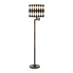 Design Classics Lighting - Harlequin Shade Remington Bronze Swing Arm Floor Lamp - 1901-1-604 SH9491 - Contemporary / modern remington bronze 1-light floor lamp. Swing arm has a maximum 10-inch extension. Takes (1) 150-watt incandescent three-way bulb(s). Bulb(s) sold separately. UL listed. Dry location rated.