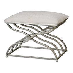 Uttermost - Shea Satin Nickel Small Bench - Curvy frame in satin nickel with a light champagne wash topped with a padded seat in plush ivory.