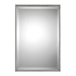 "Uttermost - ""Uttermost Sherise Rectangle Mirror 1.5 x 21 x 31"""", Brushed Nickel"" - ""Brushed nickel, metal frame features a decorative beading design. Mirror features a generous 1 1/4"""" bevel. May be hung either horizontal or vertical.Designer: Carolyn KinderDimensions: 1.5"""" depth by 21"""" width by 31"""" heightMaterial: glass, metal/MDF"""