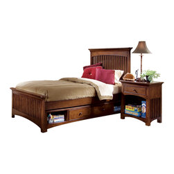 Lea Industries - Lea Elite Crossover 3 Piece Slat Kids' Bedroom Set in Burnished Cherry - Welcome to the Lea Elite Collection, Crossover. A mixture of American Country, Arts and Crafts, and Shaker styles are blended to create this collection. The finish is a darker, burnished cherry with a lot of hand applied high lighting and accent; adding to the high style rustic and country design. The hardware is an antiqued brass color and adds even more simple to appeal to Crossover. Design details such as the tapered posts accentuated with wood plugs add to the hand crafted motif. Crossover is a versatile group that fits children's and teen rooms, condos, and even smaller master bedrooms.