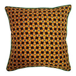 Frontgate - Candy Corn Indoor Throw Pillow - Pillow insert is duck/down and has a double cotton cover. 100% silk outer casing. Fun Halloween screen-print graphic with green piping on edges. Dry clean only. This adorable Candy Corn Indoor Throw Pillow features a screen-printed sea of everyone's favorite Halloween candy--candy corn. This festive pillow will make a great accent piece for the season. . . . . Assembled in the USA.