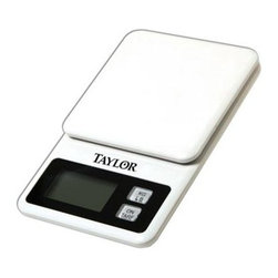 Taylor - Mini Kitchen Scale - Taylor Mini Kitchen Scale - 11 lb/5 kg x .1 oz/1 g capacity; scale stores on refrigerator with convenient storage hanger; atuto shutoff & tare functions; 1 lithium battery included  This item cannot be shipped to APO/FPO addresses. Please accept our apologies.