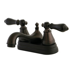 """Kingston Brass - Two Handle 4"""" Centerset Lavatory Faucet with Retail Pop-up FS3605AL - This bathroom faucet consists of elegant, traditional features and an early American style that befits an elegant design. This faucet has a double handle deck mount setup and features a 4"""" centerset arrangement. The body is fabricated from solid brass for durability and long-lasting use. The color finish is made of oil-rubbed bronze for dark, vintage shade, as well as resisting scratches, corrosion and tarnishing. The spout has a reach of 4-1/2"""" and a height of 2-7/8"""". The handles act as a 1/4-turn on/off water control mechanism for easy management of water volume and temperature.  The faucet operates with a ceramic disc valve for droplet-free functionality with the water measured 2.2 GPM (8.3 LPM) and a 60 PSI maximum rate.  An integrated removable aerator is inserted beneath the spout's head piece for conserving water flow. A pop-up drain in a matching finish is included. All mounting hardware is included and standard US plumbing connections are used.  A 10-year limited warranty is provided to the original consumer.Manufacturer: Kingston BrassModel: FS3605ALUPC: 663370132452Product Name: Two Handle 4"""" Centerset Lavatory Faucet with Retail Pop-upCollection / Series: English ClassicFinish: Oil Rubbed BronzeTheme: ClassicMaterial: Brass/Zinc AlloyType: FaucetFeatures: Fabricated from solid brass/zinc alloy material for durability and reliability"""