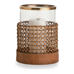 "Honor Small Hurricane - 9.5"" x 7.5"" - Mixed materials lend the Honor Large Hurricane lamp a rare and distinctive beauty well-suited to the transitional home. The clear glass cylinder is rimmed with a band of antique brass, woven wood cane surrounds the lower half of the glass, and a ribbon of camel colored leather surrounds the base. Placed upon a fireplace mantle or window ledge, the hurricane suffuses its surroundings with the glistening glow of candlelight."