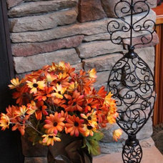 Traditional  Fall Flowers, Candle, and Pumpkin Display