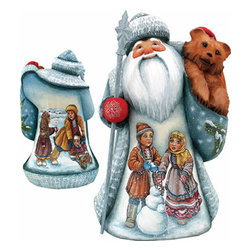 """Artistic Wood Carved Santa Claus Frosty Friends Sculpture - Measures 11""""H x 5""""L x 4.75""""W and weighs 4 lbs. G. DeBrekht fine art traditional, vintage style sculpted figures are delightful and imaginative. Each figurine is artistically hand painted with detailed scenes including classic Christmas art, winter wonderlands and the true meaning of Christmas, nativity art. In the spirit of giving G. DeBrekht holiday decor makes beautiful collectible Christmas and holiday gifts to share with loved ones. Every G. DeBrekht holiday decoration is an original work of art sure to be cherished as a family tradition and treasured by future generations. Some items may have slight variations of the decoration on the decor due to the hand painted nature of the product. Decorating your home for Christmas is a special time for families. With G. DeBrekht holiday home decor and decorations you can choose your style and create a true holiday gallery of art for your family to enjoy. All Masterpiece and Signature Masterpiece woodcarvings are individually hand numbered. The old world classic art details on the freehand painted sculptures include animals, nature, winter scenes, Santa Claus, nativity and more inspired by an old Russian art technique using painting mediums of watercolor, acrylic and oil combinations in the G. Debrekht unique painting style. Linden wood, which is light in color is used to carve these masterpieces. The wood varies slightly in color."""