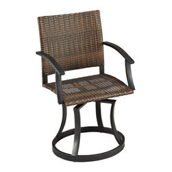 "Lamps Plus - Country - Cottage Newport Woven Black Outdoor Swivel Chair - Outdoor swivel chair. Two-tone walnut brown synthetic weave. Synthetic weave seat and back. Black finish powder-coated steel frame. Ball bearing swivel. Moisture and weather resistant design. Adjustable nylon glides offer stability on uneven surfaces. 36"" high. 24 1/2"" wide. 24 1/2"" deep. Seat is 18"" high.  Outdoor swivel chair.  Two-tone walnut brown synthetic weave.  Synthetic weave seat and back.  Black finish powder-coated steel frame.  Ball bearing swivel.  Moisture and weather resistant design.  Adjustable nylon glides offer stability on uneven surfaces.  36"" high.  24 1/2"" wide.  24 1/2"" deep.  Seat is 18"" high."
