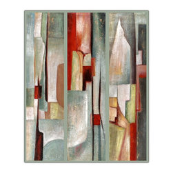 Trademark Global - Abstract Triptych by Joval Framed Canvas Art - Framed canvas art & Giclee on canvas. Contemporary style. Vertical layout. Frame dimensions: 35 in. L x 47 in. W x 2 in. H (5.25 lbs.)