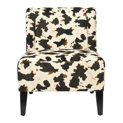 Safavieh - Ashby Chair - Cow - Low-slung and with a tailored profile, the Ashby slipper chair sits atop sturdy black finished round legs. Wrapped in a bold contemporary cowhide print uphholstery fabric, Ashby features a slight barrel back and a go-anywhere style.