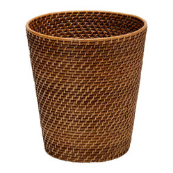 Round Rattan Waste Basket, Honey-Brown
