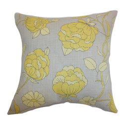 "The Pillow Collection - Lalomalava Floral Pillow Grey - This floral throw pillow comes with a trendsetting yellow and grey color palette. This accent pillow makes the perfect highlight piece for your living room with its striking floral print pattern. This down-filled pillow melds easily with various settings and decor styles. You can also use this square pillow as a stand-alone piece. This 18"" pillow is made from a blend of 55% linen and 45% rayon fabric. Hidden zipper closure for easy cover removal.  Knife edge finish on all four sides.  Reversible pillow with the same fabric on the back side.  Spot cleaning suggested."