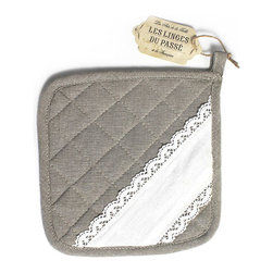 Les Linges Du Passe Oven Mitt - Nostalgic grace comes into your kitchen with the careful selection of small necessities, and the Les Linges du Passe Oven Mitt - a sweet but functional practicality in diamond-quilted, unbleached linen - adds just the right touch with a diagonal band of lovely pure white lace. Neutral colors allow inclusion in any kitchen, as the delicacy of this detail suits every design.