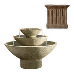 Campania International - Carrera Fountain - Aged Limestone (AL) - The Carrera Fountain (FT-223) from Campania International, with its three tiers and graceful shape, makes a big impact for smaller spaces. Made of cast stone. Pump included. Weight: 275 lbs. Main picture shows Verde (VE)