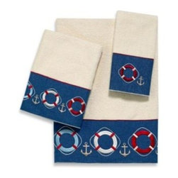 Avanti - Avanti Life Preservers II Bath Towel in Ivory - Decorate your bathroom with this embellished towel which features intricate embroidery and appliqued life preservers in nautical coloration.