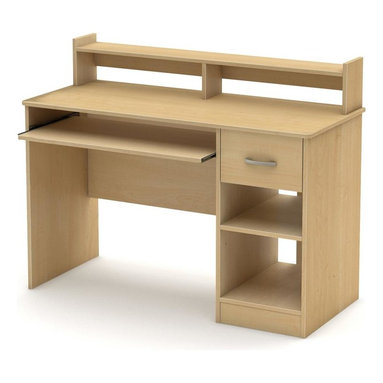 South Shore - 42 in. Kids Desk in Natural Maple - Accessories not included. Metal handles in a pewter finish. Two open storage compartments divided by one adjustable shelf. Cut out hole in the back panel which allows for easy wire management. One drawer. Metal slides on the keyboard tray for smooth gliding. Polymer drawer slides with safety latch and dampers. Low hutch can be used as shelving for books or keepsakes. Laminated particle board. Warranty: Five years. Made in Mexico. Assembly required. 42 in. W x 20 in. D x 36.75 in. H (76 lbs.). Assembly InstructionsThis Axess desk is the perfect answer to organizing clutter in your childs room. It a compact design yet includes space for everything needed for schoolwork and projects. The desktop, plenty of room to spread out homework or a house laptop.